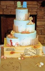 cute wedding cake beach theme