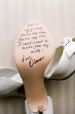 message from husband to be on shoe