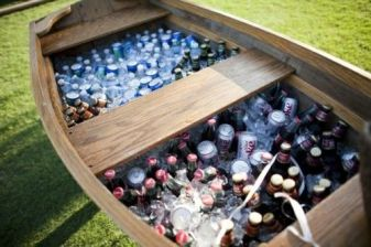 drinks in a canoe