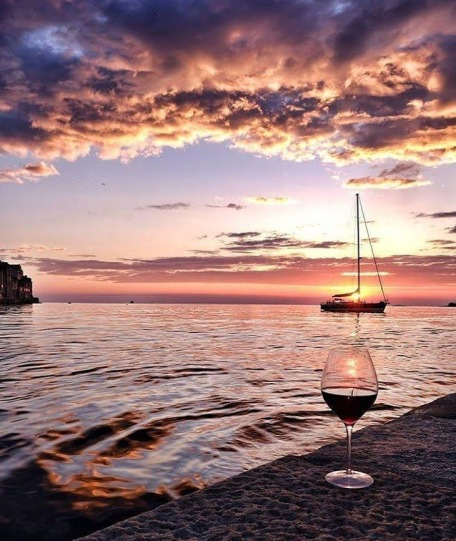 sunset and wine